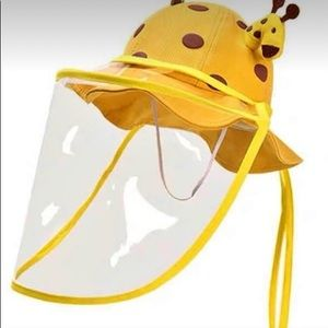 🍒FACE SHIELD SUMMER FULL PROTECTION HAT YELLOW